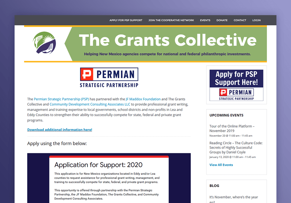 PSP Grant Assistance Portal website screenshot