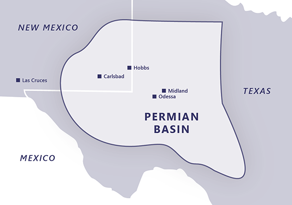 map of Permian Basin region