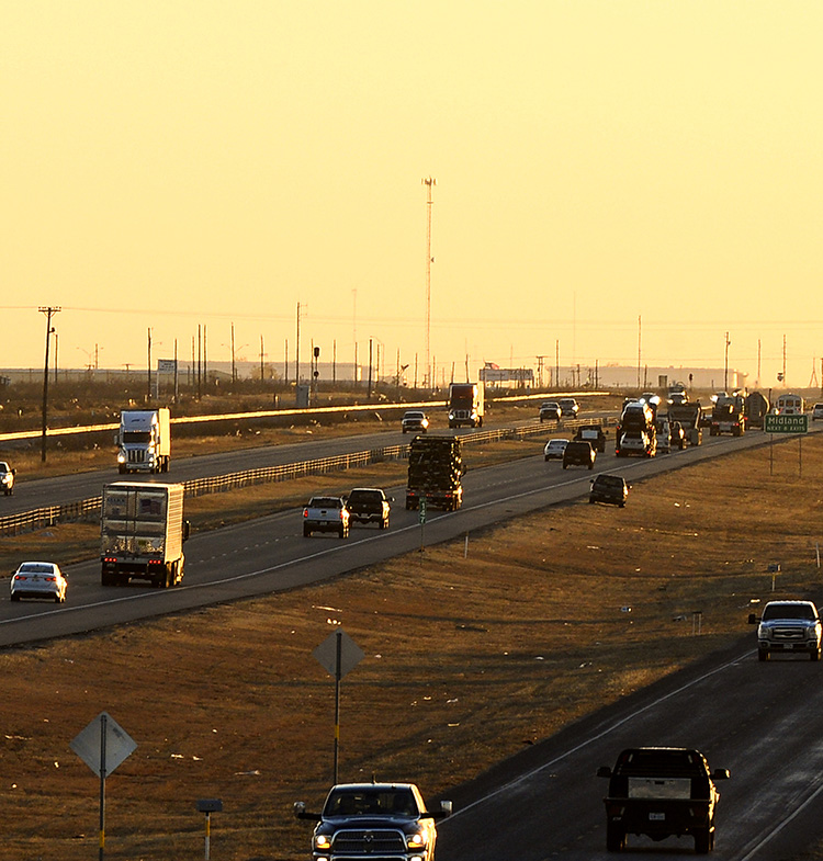 highway traffic in Midland, Texas